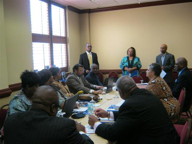 Members at a meeting